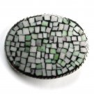 Handmade Artisan One Of A Kind Green Pastel Mosaic belt buckle