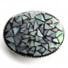 Handmade Artisan One Of A Kind Purple Blue Pastel Mosaic belt buckle