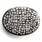 Handmade Artisan One Of A Kind Rose Beige Pastel Mosaic belt buckle