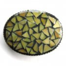 Handmade Artisan One Of A Kind Green Yellow Mosaic belt buckle