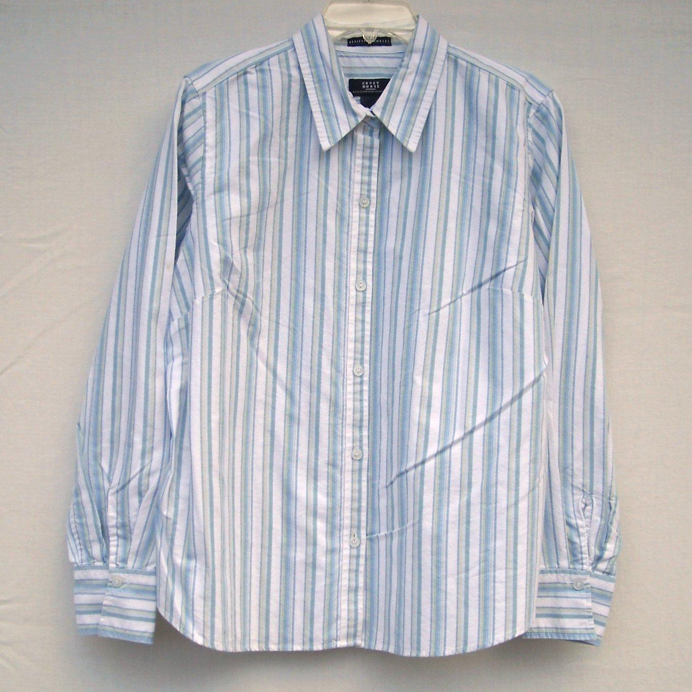 Crazy Horse Misses Womens Striped Cotton Blouse Shirt Size 14