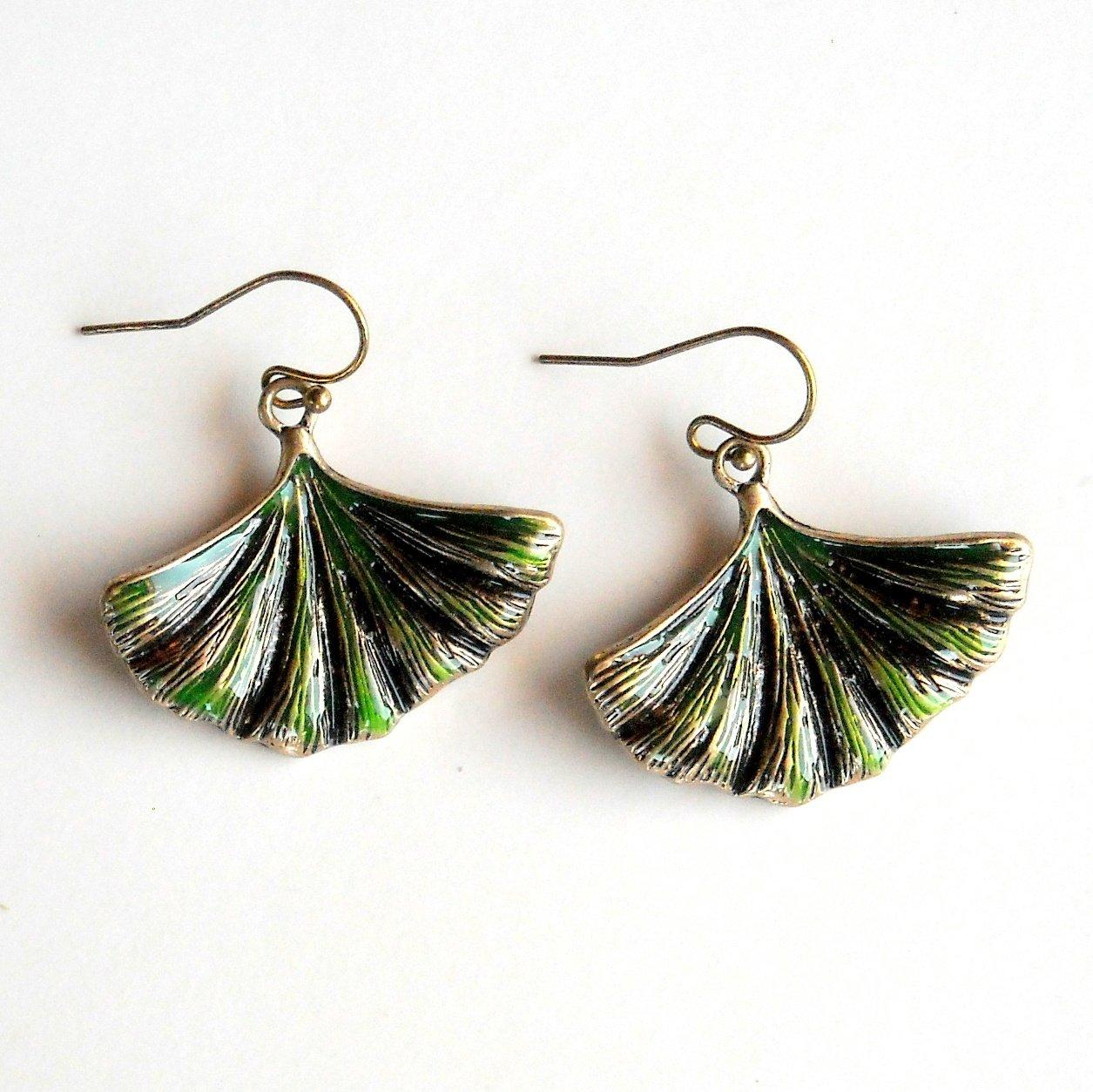 Lucky Brand Ginkgo Leaf Dangle Drop Earrings
