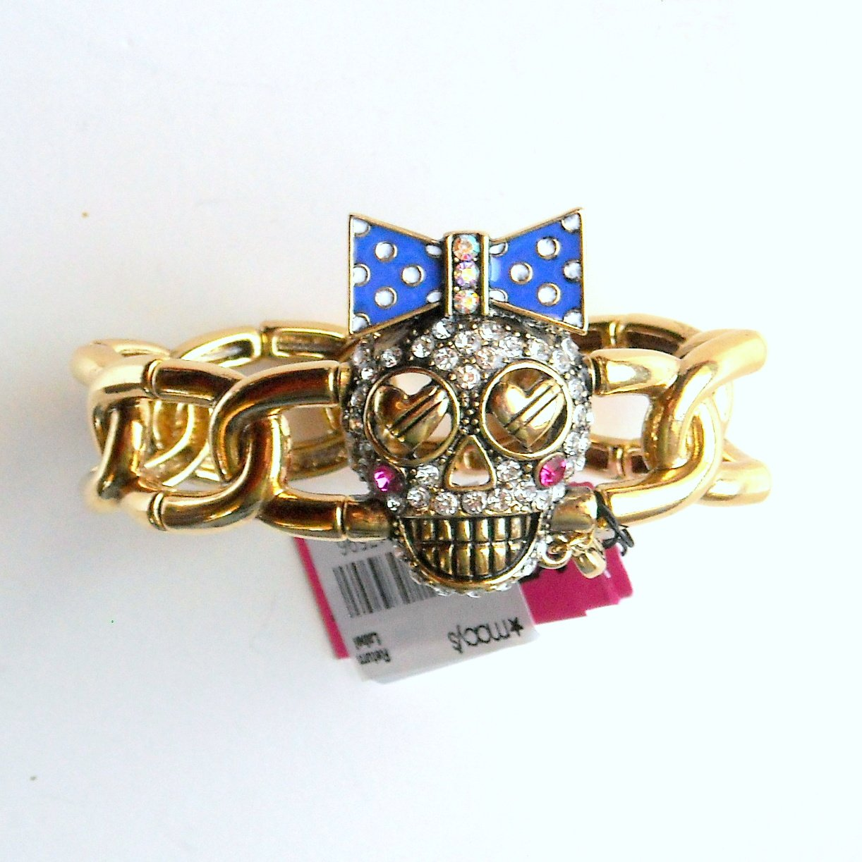 Betsey Johnson Ivy League Skull Gold Tone Stretch Link Bracelet