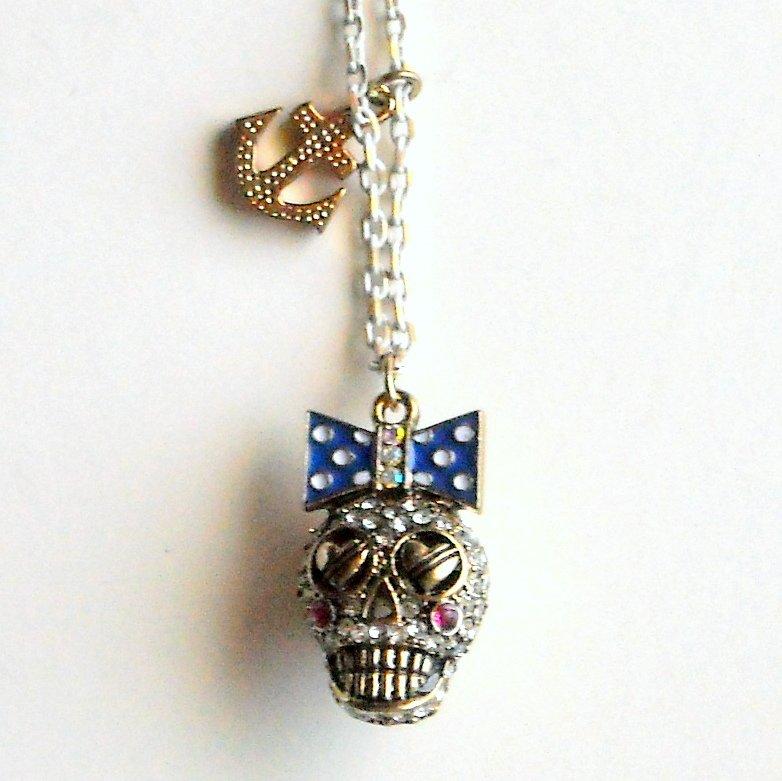 Betsey Johnson Ivy League Skull Gold Tone Necklace