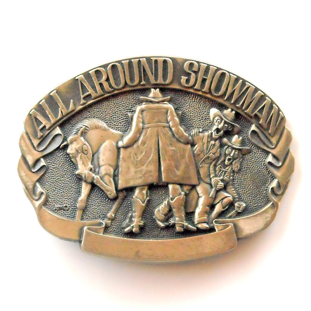 Showman Cowboy Vintage Award Design Solid Brass Belt Buckle