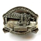 Mac Arthur Bridge 1985 Burlington Steamboat Days Pewter Belt Buckle