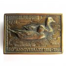 Duck Stamps Swan Quarter Carving Brass Belt Buckle