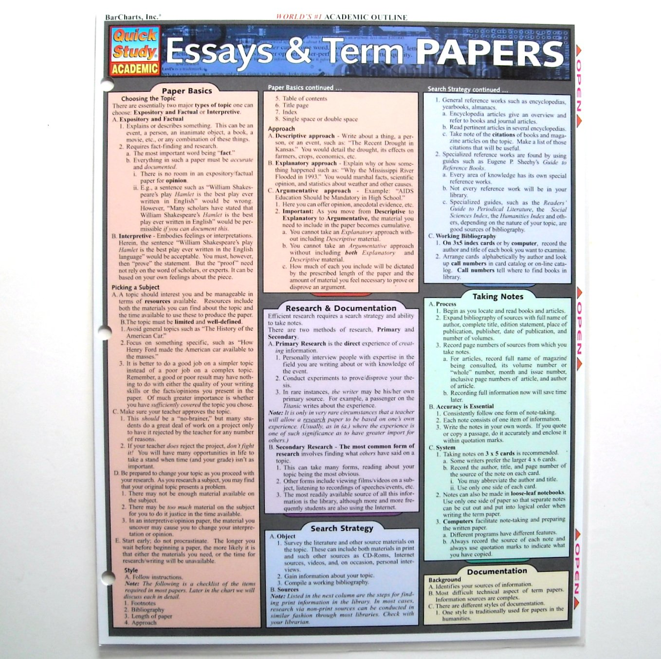 Original Essays Term Papers Quick Study Guide Academic Barcharts
