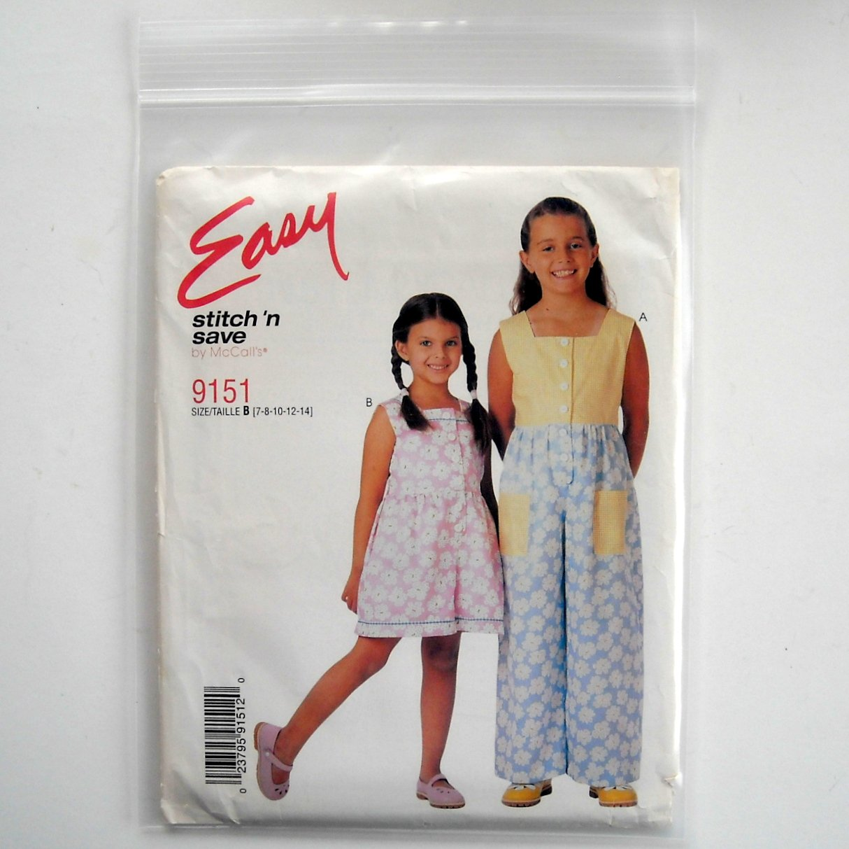 McCalls Sewing Pattern 9151 Size 7 - 14 Easy Girls Jumpsuit Rompers