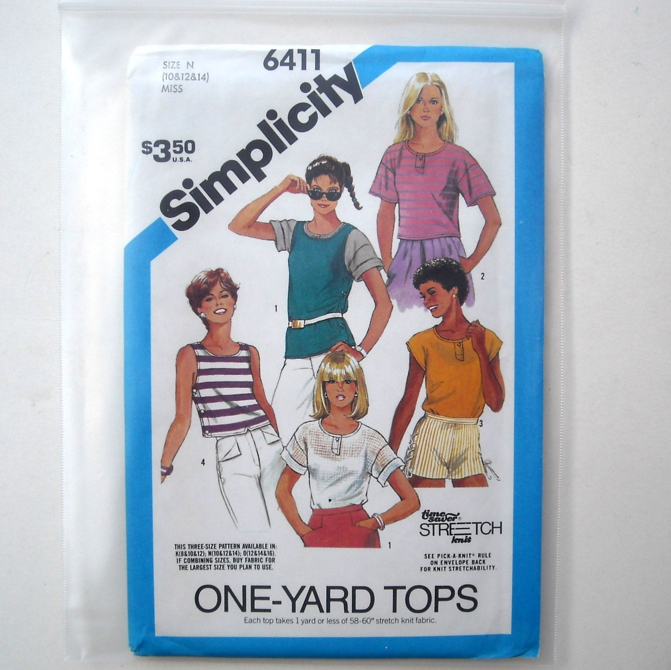 Simplicity Sewing Pattern 6411 Size 10 - 14 Misses Pullover Tops