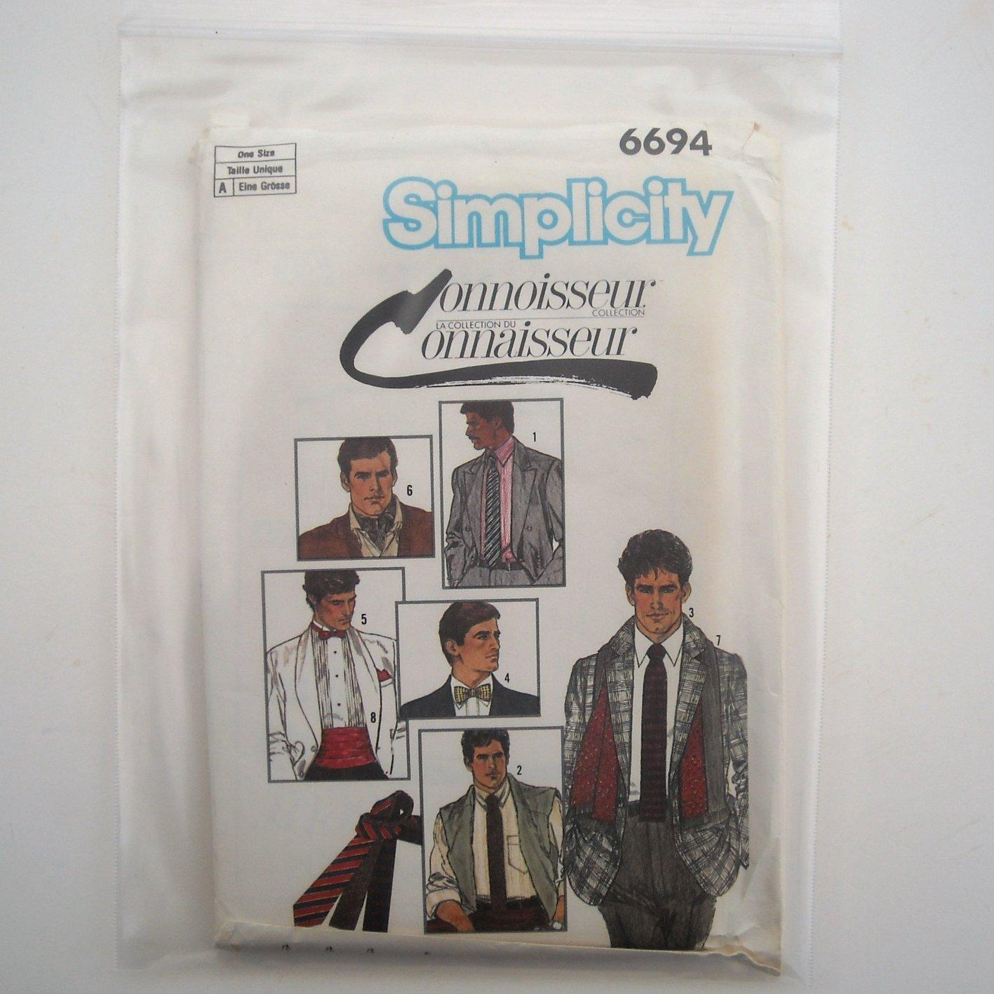 Mens Accessories Tie Cummerbund Simplicity Sewing Pattern 6694