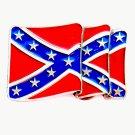 Waving Confederate Rebel Flag Color Vintage Made In USA CJ Pewter Belt Buckle