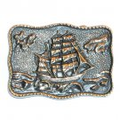 Full Rigged Ship Vintage BTS Solid Brass belt buckle