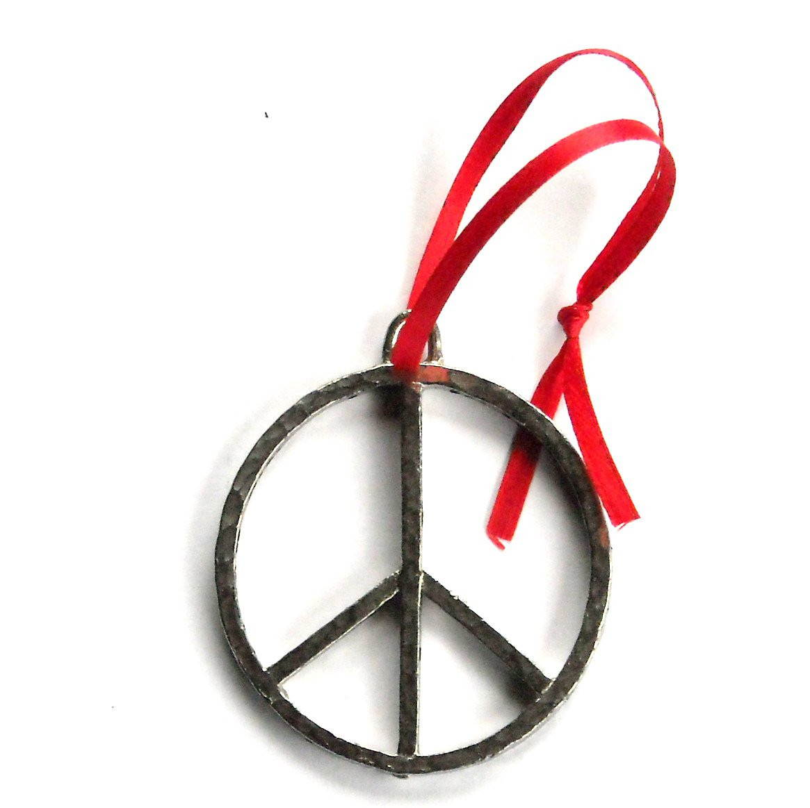 Vintage Peace Sign Nostalgic Red Ribbon Christmas Ornament