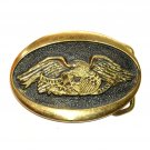 Vintage American Eagle United We Stand Heritage Mint A 3682 Solid Brass Belt Buckle