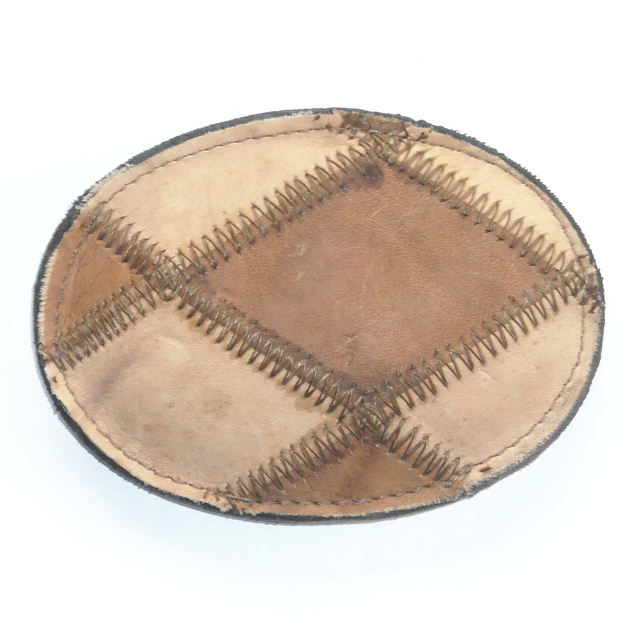 Beige Brick Sewn Vintage Tony Lama Leather Belt Buckle