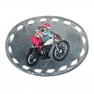Motorcycle Dirt Bike Embroidered Vintage Tony Lama Leather Belt Buckle