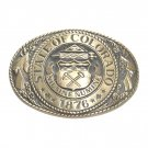 Tony Lama State Of Colorado Seal 1876 Solid Brass belt buckle