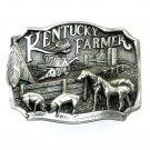 Kentucky Farmer 3D Made In USA Edition Pewter Belt Buckle 1986