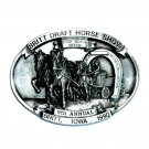 Britt Iowa Four Horse Hitch 3D Pewter Belt Buckle