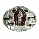 Volunteer Firefighter 3D Red Bergamot Pewter Belt Buckle