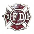 FD Fire Department Shield Red Bergamot Pewter Belt Buckle