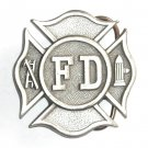 FD Fire Department Shield Vintage Bergamot Pewter American Made Belt Buckle