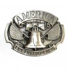 America Let Freedom Ring 3D Siskiyou Pewter Belt Buckle