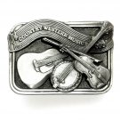 Country Western Music Siskiyou Solid Pewter belt buckle