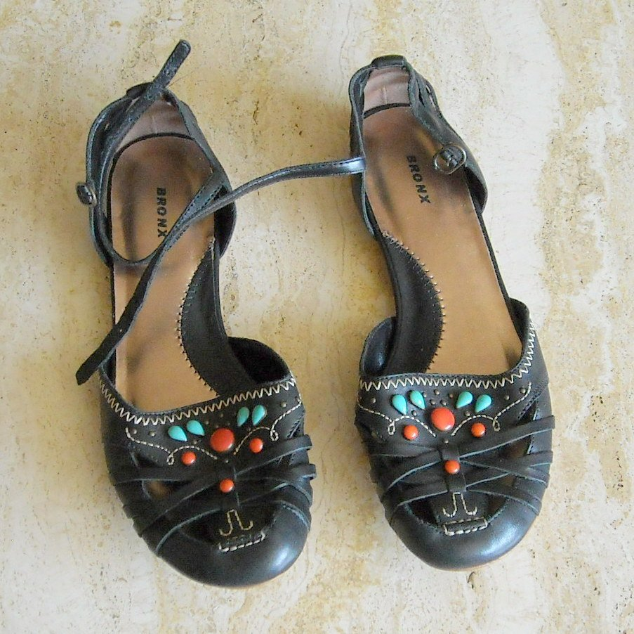 Bronx Women's Black Flats Shoes Size 6 Eu 36