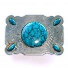 Silver Turquoise Vintage Western belt buckle