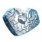 Heart Shaped Flower Design Western Belt Buckle