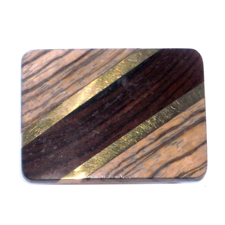 Exotic Wood and Brass Western belt buckle