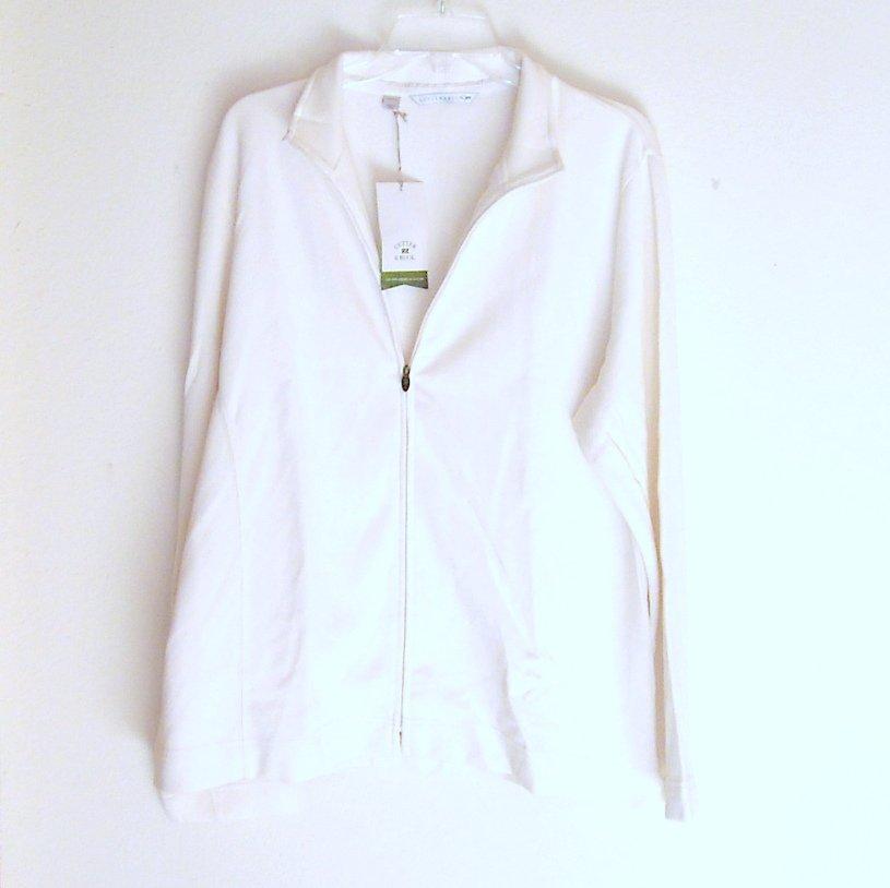 Cutter & Buck Misses Womens White Full Zip Sweater Plus Size XXL / TTG