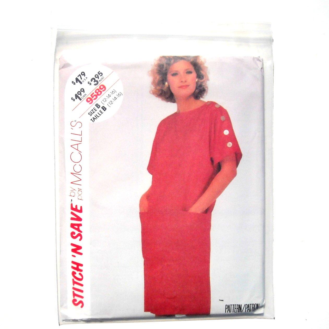 Misses Dress Size 12 - 16 Vintage McCalls Sewing Pattern 9589