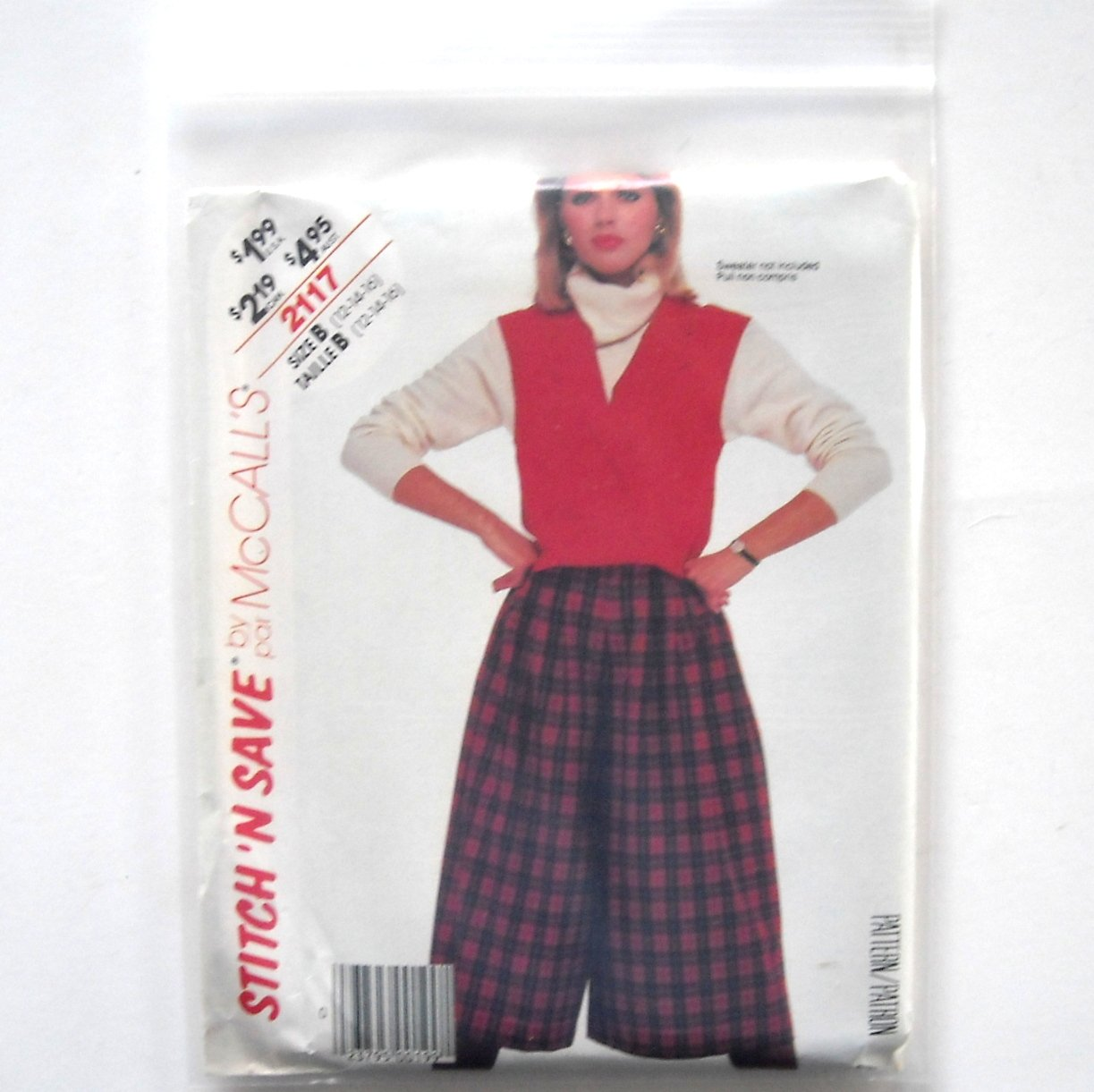 Misses Vest Culottes Size 12 - 16 Vintage McCalls Sewing Pattern 2117