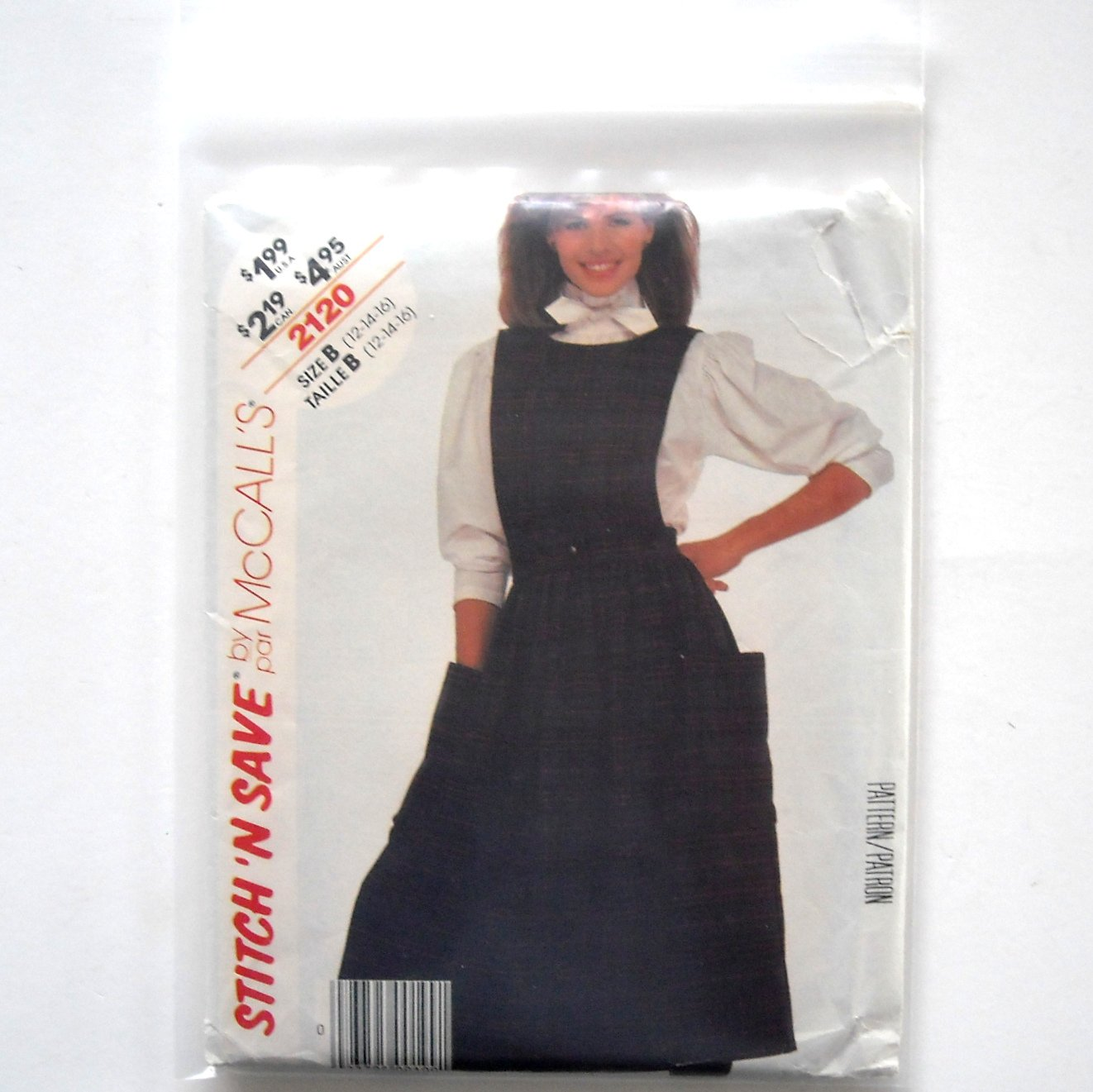 Misses Blouse Skirt Bib Size 12 - 16 Vintage McCalls Sewing Pattern 2120