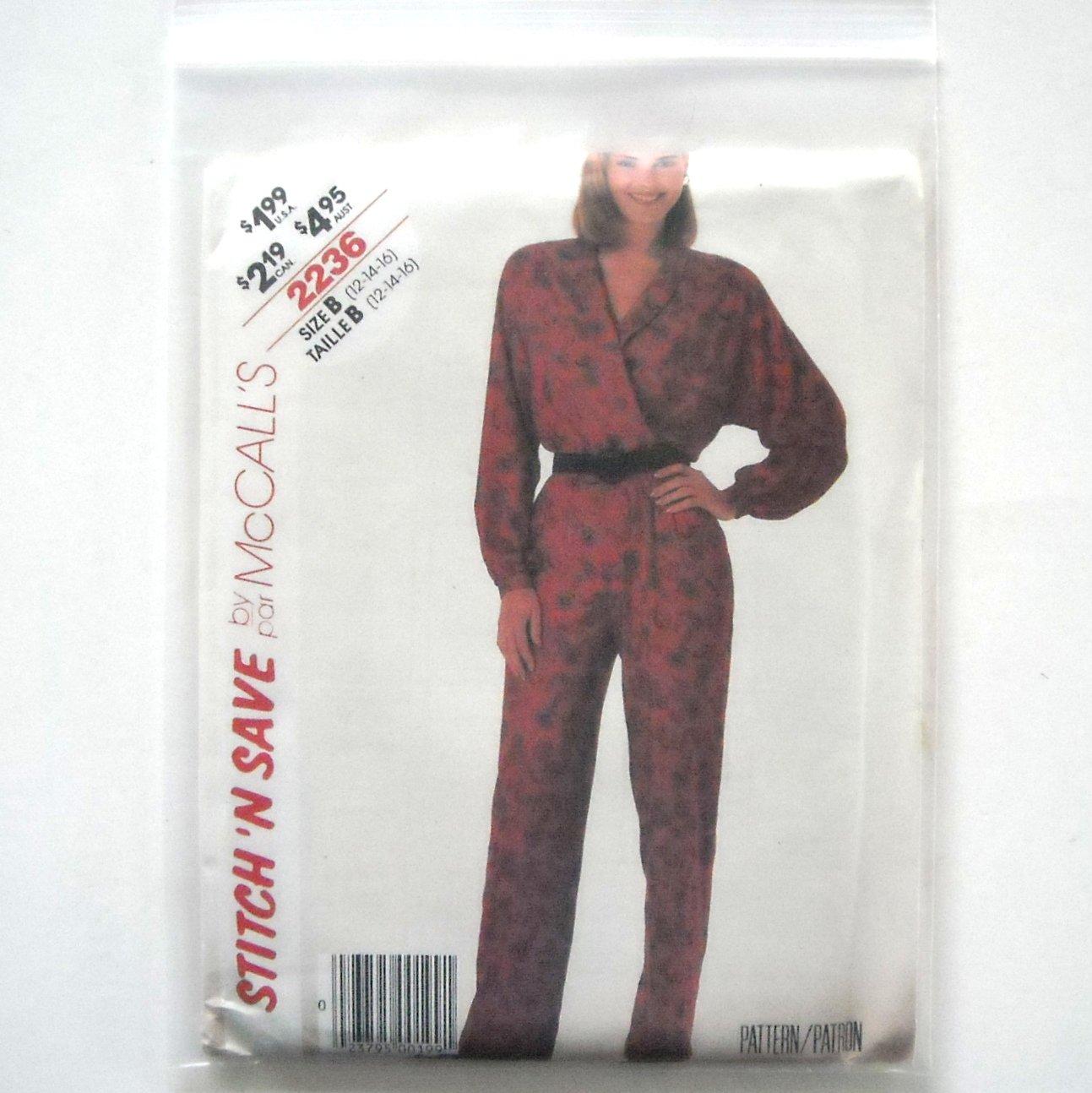 Misses Jumpsuit Size 12 - 16 Vintage McCalls Sewing Pattern 2236