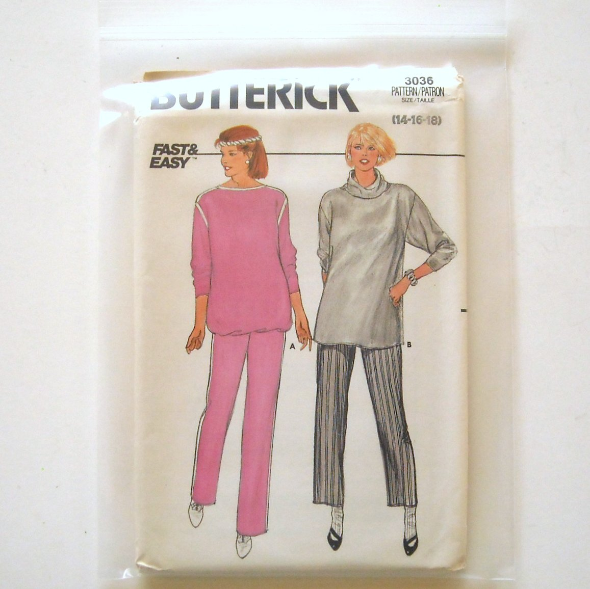 Maternity Top Pants Size 14 - 18 Vintage Butterick Sewing Pattern 3036