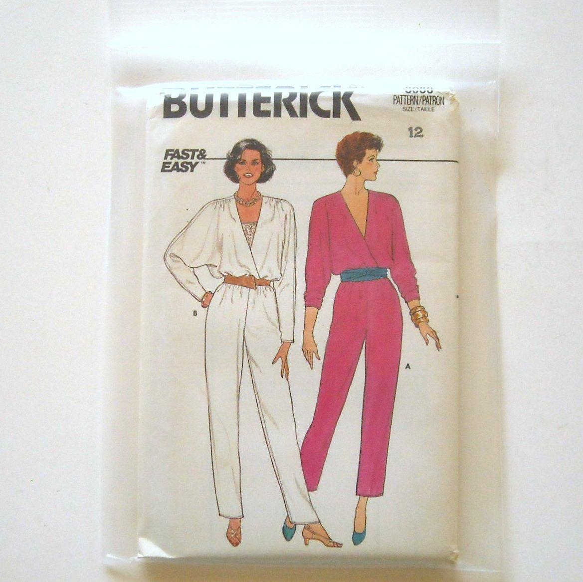 Misses Jumpsuit Top Size 12 Vintage Butterick Sewing Pattern 3080