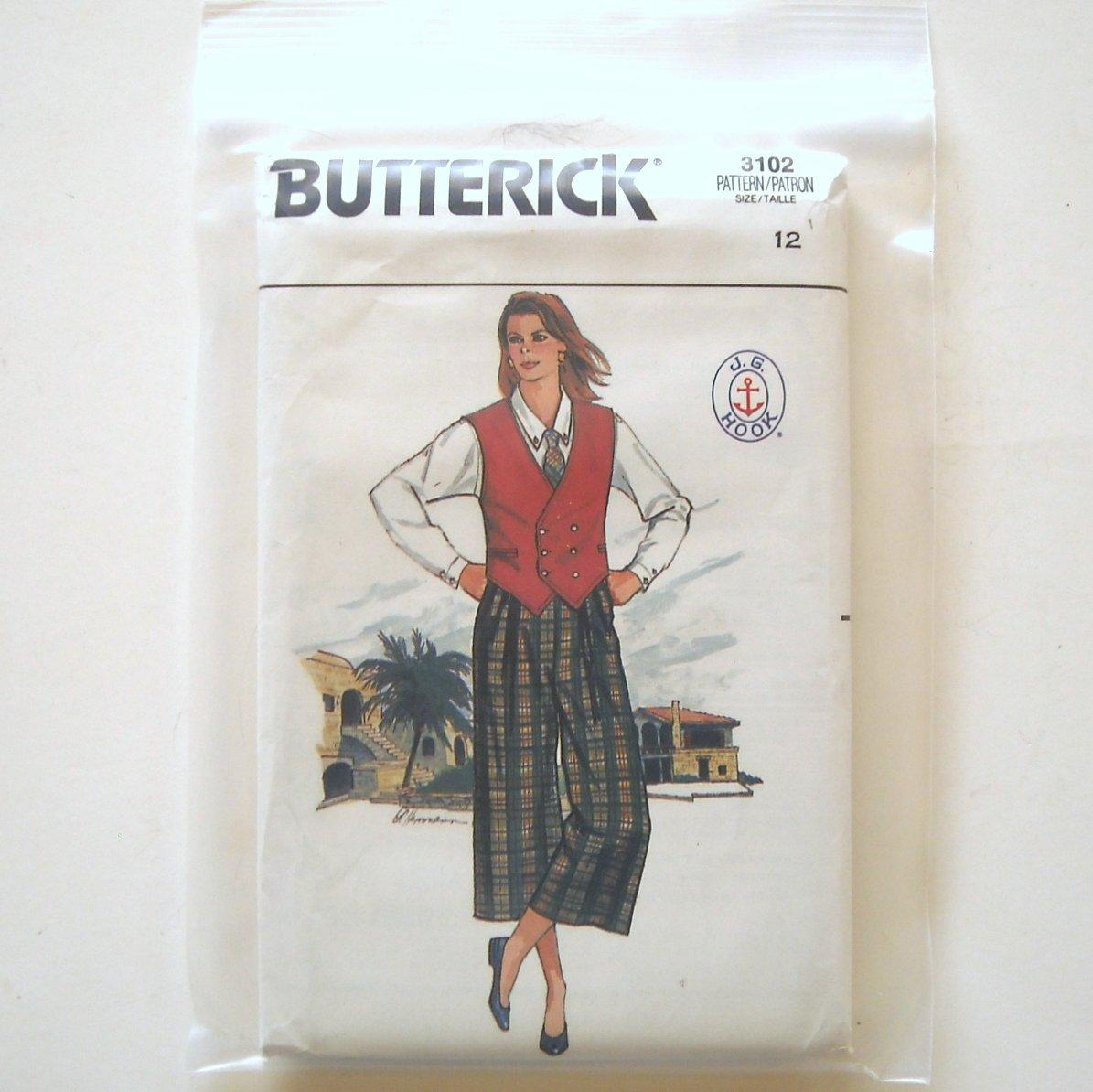 Misses Vest Shirt Culottes Skirt Size 12 Vintage Butterick Sewing Pattern 3102