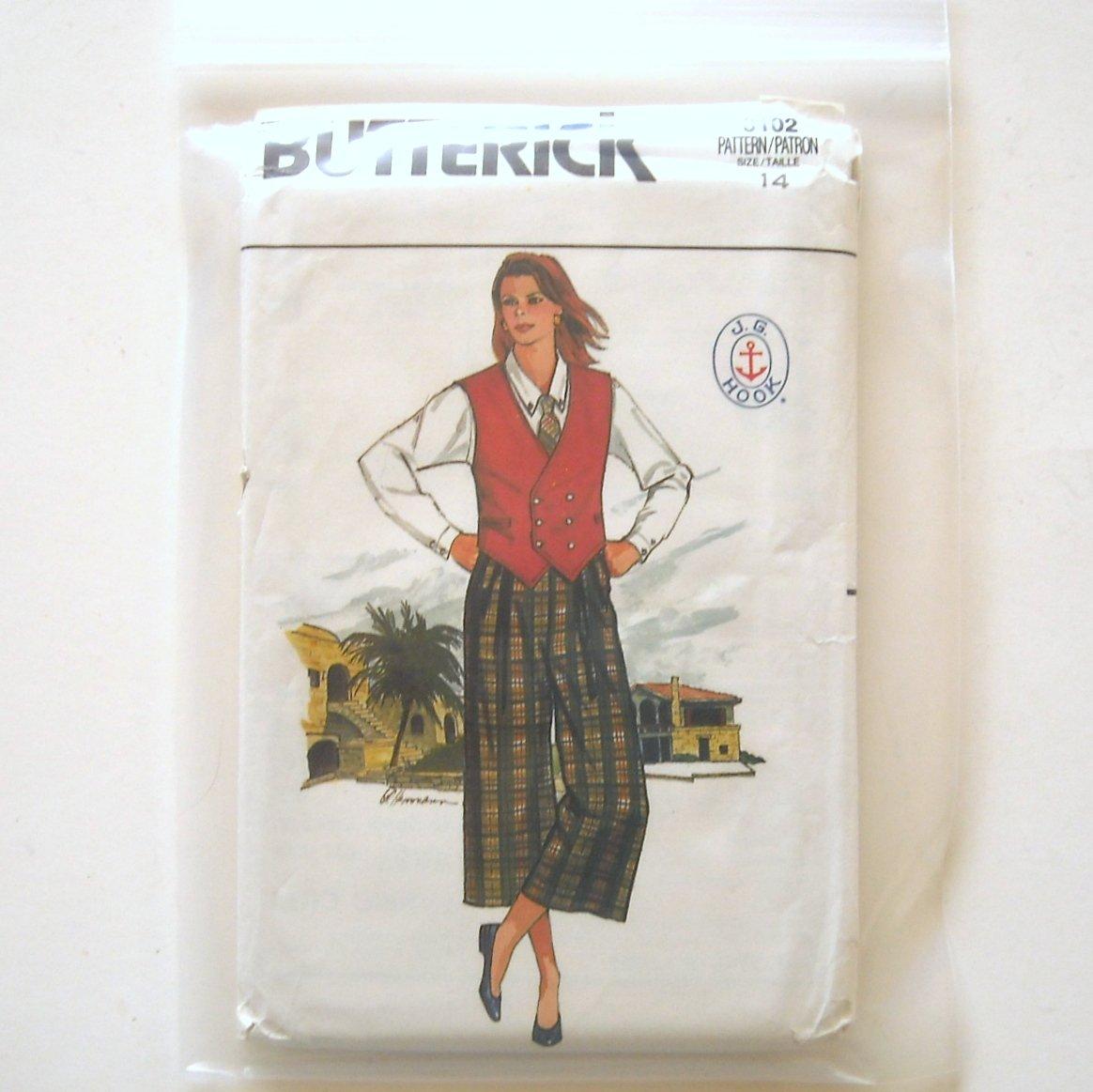 Misses Vest Shirt Culottes Skirt Size 14 Vintage Butterick Sewing Pattern 3102