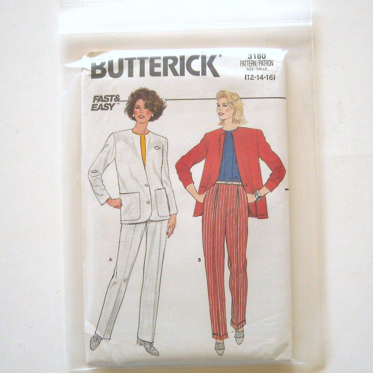 Misses Jacket Pants Size 12 - 16 Vintage Butterick Sewing Pattern 3180