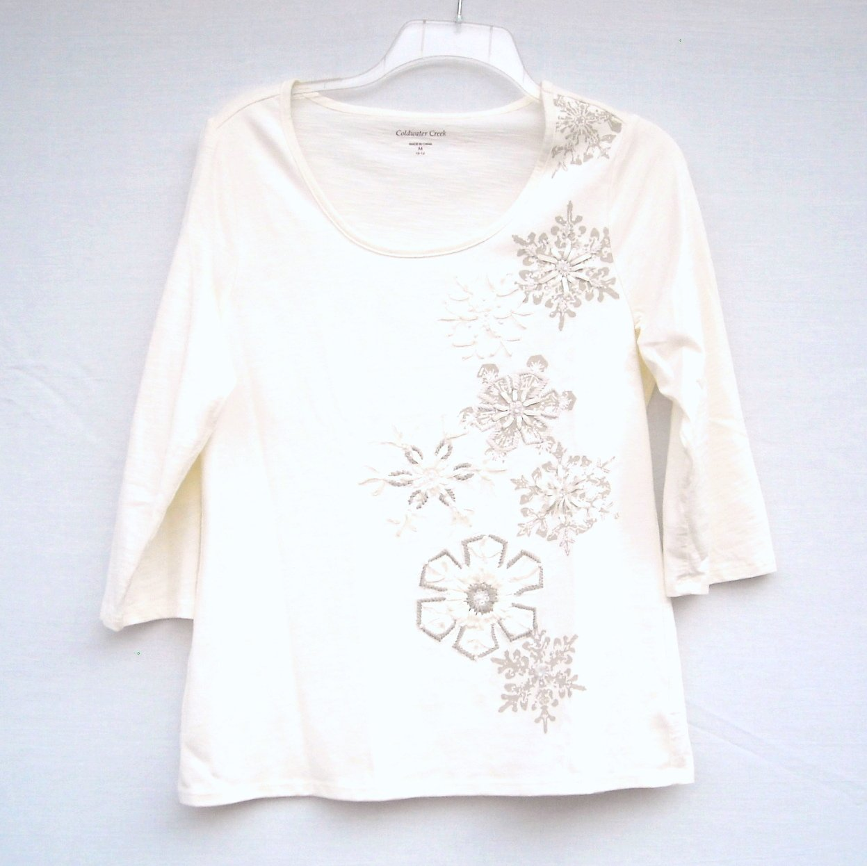 Coldwater Creek Misses White Snowflake Blouse Top Size M 10 12