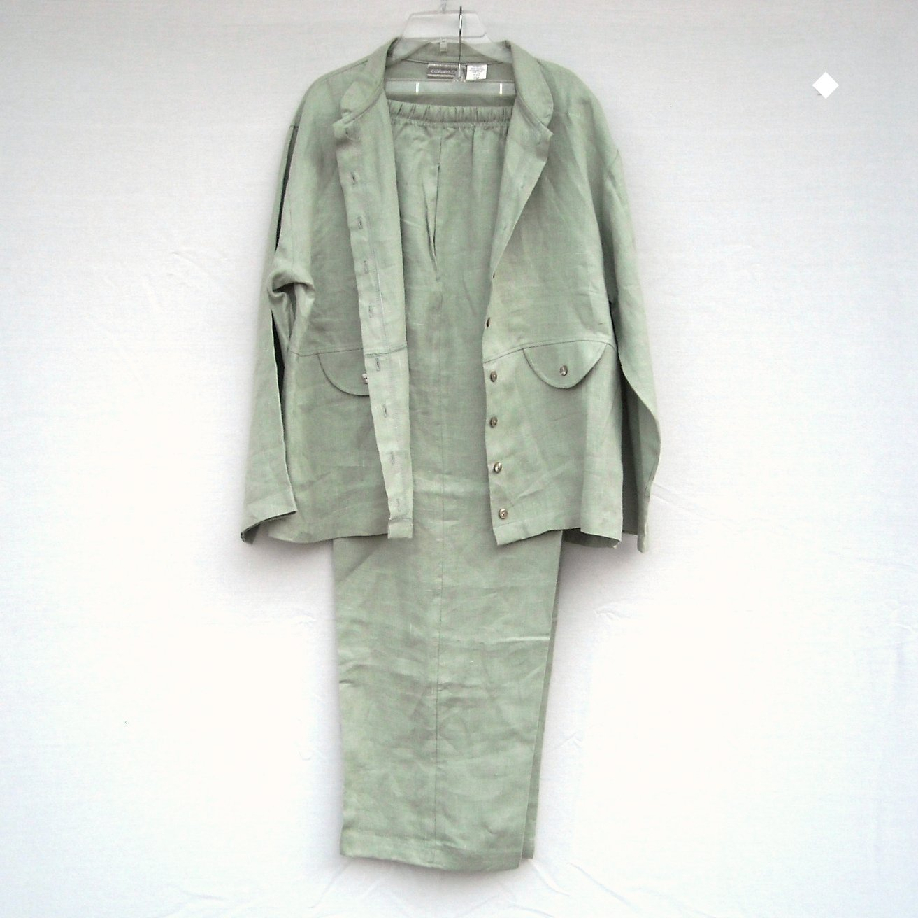 Coldwater Creek Misses Linen Jacket Pant Suit Size PM