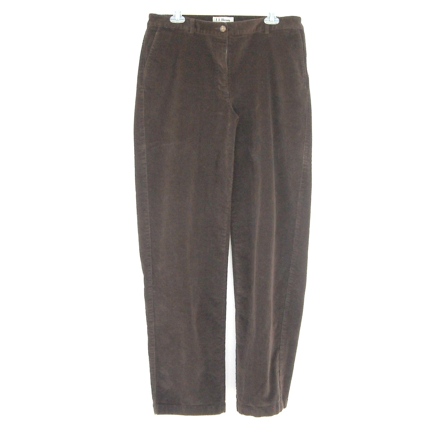 L L Bean Straight Fit Misses Brown Corduroy Pants size 12 Tall