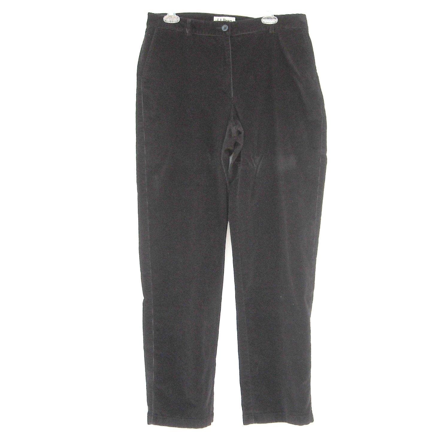 L L Bean Straight Fit Misses Black Corduroy Pants size 12 Tall