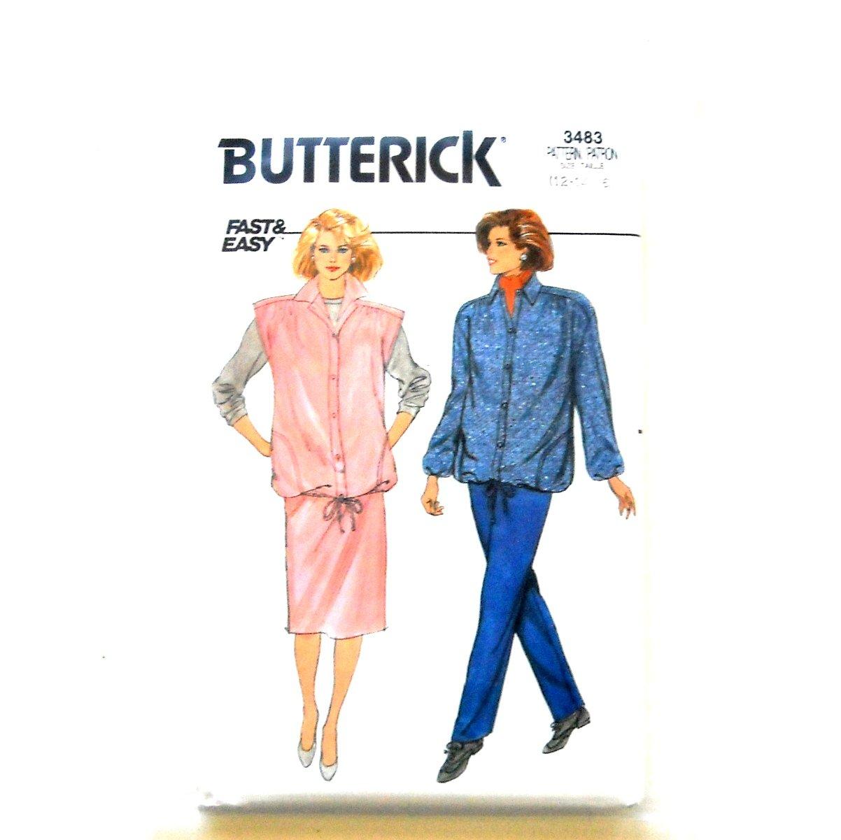 Misses Maternity Jacket Vest Skirt Pants Size 12 - 16 Vintage Butterick Sewing Pattern 3483