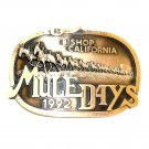 Mule Days Bishop California 1992 Bronze 3D Belt Buckle