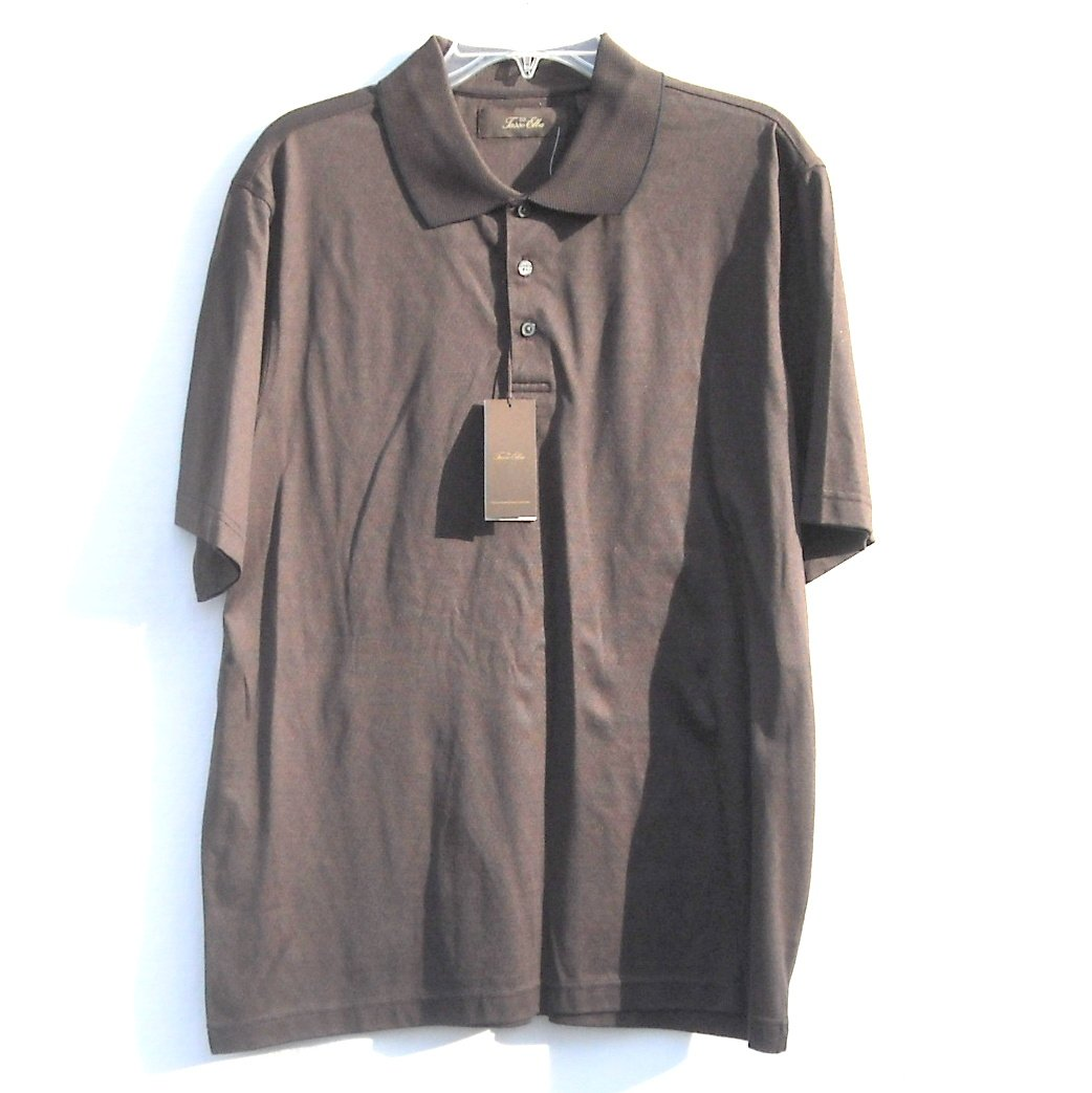 Tasso Elba Mens Short Sleeve 100% Cotton Brown Shirt Medium